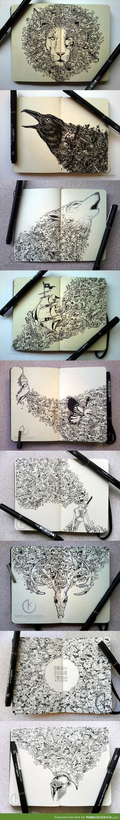 Incredible moleskine drawings by Kerby Rosanes. More treats at the link. - TRULY AMAZING SKETCHWORK! Inspirational