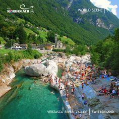 [World Scene] Verzasca River Valley, Switzerland. #koreanair #travel
