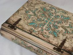 #caixasdemadeira - Posh Decopage, Decoupage Box, Decoupage Vintage, Wood Crafts, Diy And Crafts, Arts And Crafts, Wooden Diy, Wooden Boxes, Mixed Media Boxes