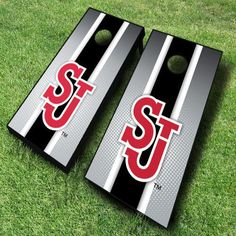 These St. Johns Red Storm cornhole boards are great for displaying collegiate pride at tailgates, cookouts, and other outings. Includes 2...