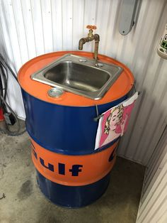 Simple replied diy metal projects navigate to this web-site Garage Furniture, Car Part Furniture, Barrel Furniture, Furniture Projects, Diy Furniture, Barrel Sink, Oil Barrel, Metal Barrel, Barrel Projects