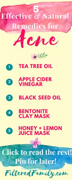 These natural remedies for acne really work! My favorite is the mask but I LOVE the apple cider vinegar toner too! If you have acne try these to naturally clean up for your beautiful face! -- Infographic - 5 Effective Natural Remedies for Acne | via FilteredFamily.com