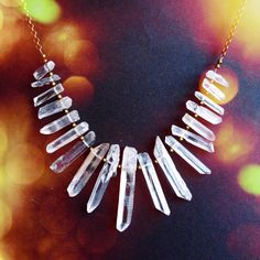 Raw Crystals Statement Necklace Crystal Quartz by AtelierYumi, $78.00