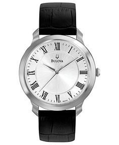 Bulova Watch, Men's Black Leather Strap 41mm 96A133 - Men's Watches - Jewelry & Watches - Macy's