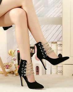 Fancy Chain Sexy Black High Heel Woman's Shoes