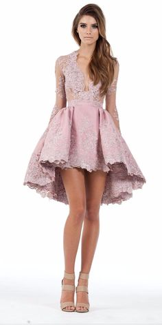 2017 Custom Made A Line Long Sleeves Hghi Low Cocktail Party Dresses Lace Applique Plunging Homecoming Gowns Prom Short Mini Dress Long Sleeve Homecoming Dresses, Prom Dresses Long With Sleeves, Ball Dresses, Evening Dresses, Short Dresses, Dress Prom, Dresses 2016, Ball Gowns, Shorts Longs
