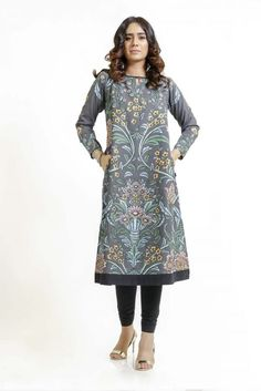 Grey colored kurta with floral print, round neck and full sleeves Fabric : Light weight cotton Embellishment : Floral Print Color : Grey Sleeves : Full Eid Collection, Independent Women, Flower Show, Straight Cut, Industrial Style, Floral Prints, Cold Shoulder Dress, Wallpaper, Fabric