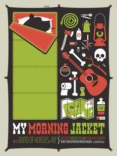 Picked this sweet screen print poster at the My Morning Jacket / Band of Horses show sunday in Columbus // GigPosters.com - Blind Pilot - Band Of Horses - My Morning Jacket