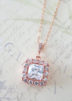 Rose Gold Luxe Cubic Zirconia Square Drop necklace, Halo style crystal necklace, Silver bridesmaid necklace, brides wedding jewelry, www.colormemissy.com