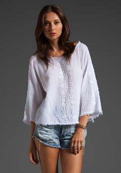 Textile Elizabeth and James Embroidered Parker Top...classic boho chic white with great details.