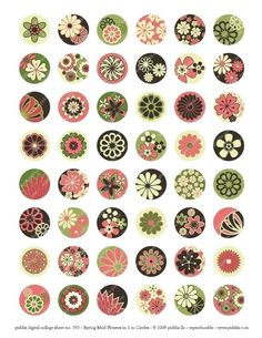 Modern Spring Flowers in 1inch circles for bottlecaps by piddix
