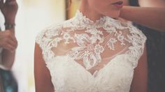 Bride wears a high necked wedding dress by Justin Alexander | Images by http://www.costasisterproductions.co.uk/