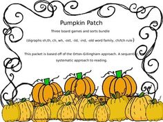 This packet focuses on the concepts: - word family (old, ild, ind, ost) - digraphs (ch, th, sh, wh)  - ch/tch rule  Included: 3 board games (one for each concept- color) 2 rules posters (ch/tch, digraphs) word cards for each concept (pumpkins or ghosts) word sort worksheets for each concept wagon word sorts for ch/tch and digraphs *all games and sorts sold individually as well!