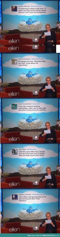 Funny tweets on ELLEN