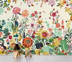 Papier peint motif floral - JARDIN CRÈME by Nathalie Lété - Domestic / archiexpo.fr