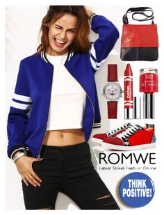 """""""Royal blue jacket Romwe"""" by amisha73 ❤ liked on Polyvore featuring Christian Louboutin, Clinique and Topshop"""