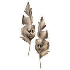 2 Piece Aurora and Hespera Sculptural Greenmen Masks Wall Décor Set