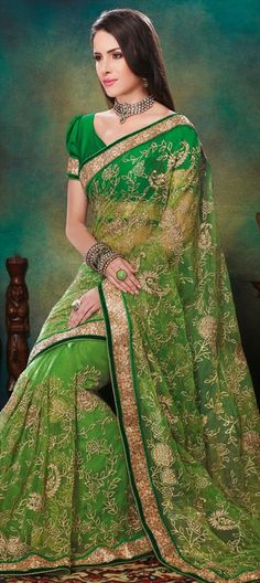 136530, Party Wear Sarees, Embroidered Sarees, Net, Machine Embroidery, Stone, Valvet, Patch, Kasab, Border, Green Color Family