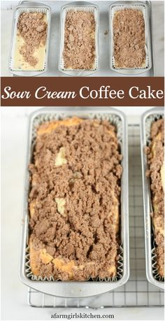 Sour Cream Coffee Cake is super moist and makes the perfect holiday dessert. Topped with a homemade streusel topping. delicious Sour Cream Coffee Cake is super moist and makes the perfect holiday dessert. Topped with a homemade streusel topping. Köstliche Desserts, Delicious Desserts, Yummy Food, Plated Desserts, Food Cakes, Cupcake Cakes, Homemade Sour Cream, Homemade Recipe, Homemade Smoker