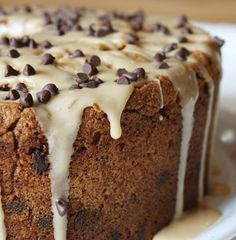 Recipe For Chocolate Chip Peanut Butter Pound Cake with Peanut Butter Glaze - It's dense and wonderful and lovely to slice and have with a cup of coffee..