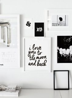 "Typography Print Motivational Wall Decor ""I Love You to the Moon and Back"" Gratitude Handwriting Style Home Decor Wall Art Summer Trends"