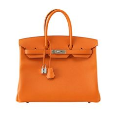 The classic - retired colour! - HERMES Birkin 35 H Orange fresh with  palladium hardware.Epsom...available mightychic.com