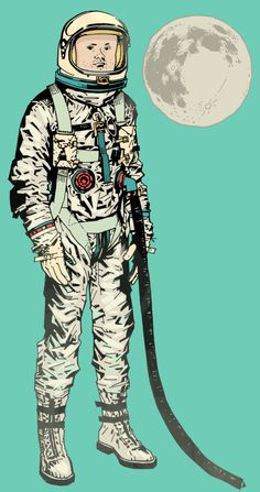 Full Armstrong variation on a picture Philip Bond did for Mrs B for her Valentine. #astroman #astronaut #Armstrong #moon #space