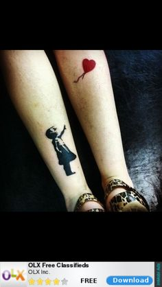 Banksy style girl with balloon tattoo