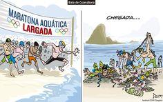 Charge de Opinião do Dum sobre a sujeira na Baía de Guanabara (26/07/2016). #Charge #Dum #Guanabara #BaiaDeGuanabara #RioDeJaneiro #RJ #JogosOlímpicos #Rio2016 #Olimpíadas #HojeEmDia