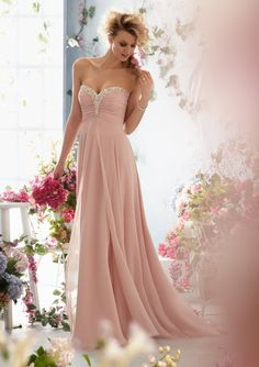 Blush Pink Strapless A line Chiffon Evening Dress Long from Terence Bridal Store $109.00 10 Pcs,$60 each