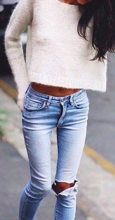 #fall #fashion / destroyed jeans + white knit