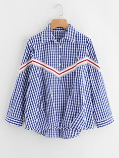 Ribbed Striped Detail Pleated Gathered Hem Checkered Shirt