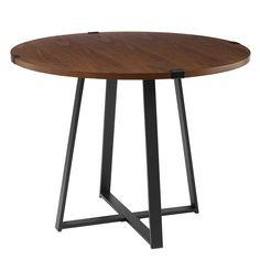 Rustic Dark Walnut Metal Wrap Round Dining Table | Pier 1