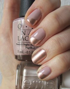 Pretty metallic and nude manicure