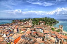 View from the Scaliger castle to the romantic little city Sirmione