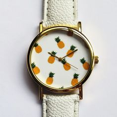 Tropical Fruit Pineapple Watch, Vintage Style Leather Watch, Women... (565 PHP) via Polyvore featuring jewelry, watches, leather-strap watches, vintage looking watches, vintage style watches, special occasion jewelry and pineapple jewelry