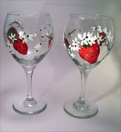 Hand Painted Wine Glasses | Strawberry Wine Glasses Hand Painted by GlitznGlass on Etsy