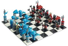 Here is the collection of 15 coolest chess sets ever. Some of them are not very easy to play chess at, but they are still cool. Chess Pieces, Game Pieces, Chess Board Set, Chess Sets, Lego Chess, Lego Knights Kingdom, Used Legos, Lego Castle, Game Art