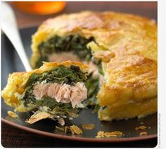 Traditional Scottish Salmon and Spinach Tart, ,