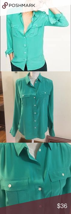 Beautiful teal Blythe blouse from j crew! Lovely teal Blythe blouse from j crew...fresh from the dry cleaners, in impeccable condition! 100% silk. Size 4. J. Crew Tops Blouses