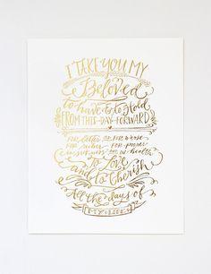 Vows Print // Gold Foil