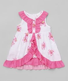 Loving this Pink & White Floral Ruffle Yoke Dress - Toddler on Baby Girl Frocks, Frocks For Girls, Little Girl Dresses, Baby Girl Frock Design, Baby Girl Dress Patterns, Baby Frocks Designs, Kids Frocks Design, Kids Dress Wear, Toddler Dress