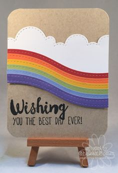 Chelsea's Creative Corner: Day 1 - Starts with a Wish . New Landscape Dies from A Muse Studio! Simple Birthday Cards, Homemade Birthday Cards, Homemade Cards, Rainbow Card, Rainbow Theme, Pretty Cards, Cute Cards, Card Making Inspiration, Making Ideas