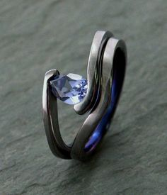 Wave Lab Created Pear Blue Sapphire Engagement Ring Set  love love this ring