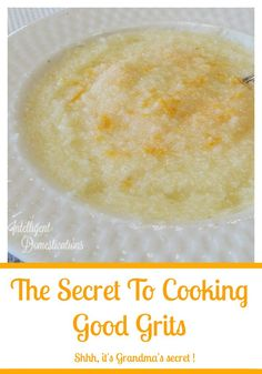 How to make good grits. The secret to cooking good grits. It's Grandma's secret and she made the best grits! Grits Breakfast, Best Breakfast, Breakfast Recipes, Southern Breakfast, Breakfast Dishes, Breakfast Casserole, Breakfast Ideas, Southern Cooking Recipes, Southern Food
