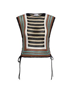 Crochet Striped Cropped Knit Top by Designer Red Valentino
