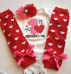 Baby Girl 1st Valentine's Day Outfit by AboutASprout on Etsy, $44.00