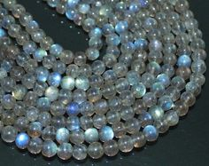 13 Inches 5mm Natural Labradorite Smooth Round Ball Beads Strand