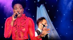 Shingai Shoniwa, lead singer of London band 'The Noisettes', looked super slick at the Jubilee Celebration Concert in Battersea