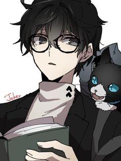 Persona Ren and Morgana Cute Anime Pics, Cute Anime Boy, Anime Oc, Manga Anime, Comic Character, Character Design, Arte Emo, Neko Boy, Persona 5 Joker